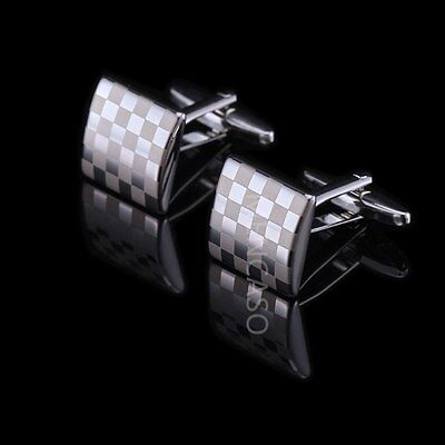 Mens Silver White Steel Wedding Party Crystal Business Shirt Novelty Cufflinks