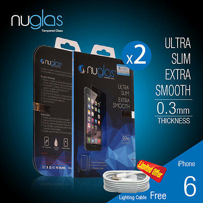 2 X Genuine Nuglas Tempered Glass Screen Protector for Apple iPhone 6/6s Plus