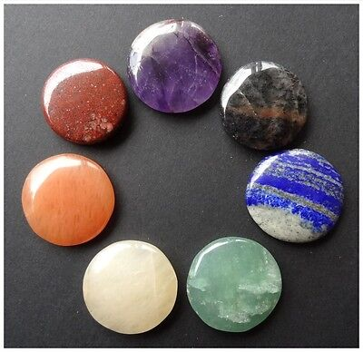 7 PC CHAKRA ROUND Cabochon DISC SET Gemstone CRYSTAL Healing GIFT + free Pouch