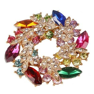 Colorful Flower Gold Plated Rhinestone Crystal Brooches Brooch Bouquet Pin Women
