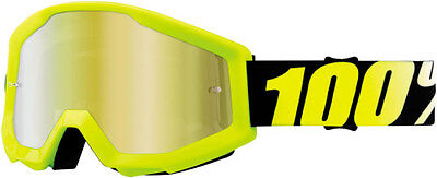 100 Adult MX ATV BMX Goggles Strata Yellow With Gold Lens 50410-004-02 95-1625