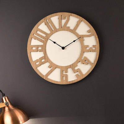 Wall Clock 40cm HUGO Modern Wooden Designer Timber Home Cool Funky Unique NEW