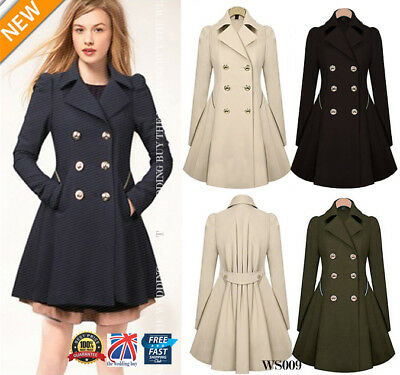WOMENS Ladies Lapel Stylish Long Parka Coat Trench Outwear Jacket 8-16 WS009
