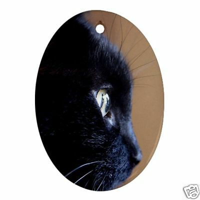 Black Cat Oval Christmas Ornament New