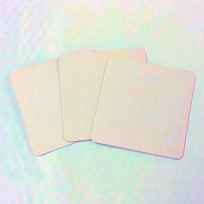 Plain white square coasters beermats placemats card 100