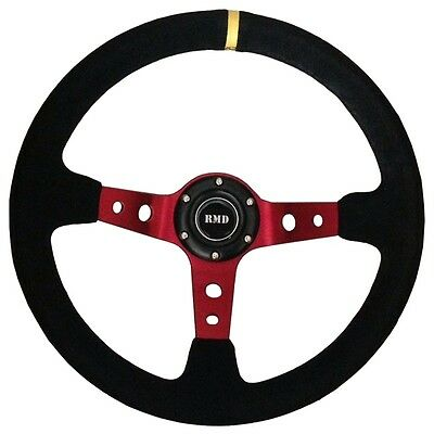 """Steering Wheel 350mm Black Suede 3"""" Dished With OMP Style Mounting SVi-4152BSUR"""