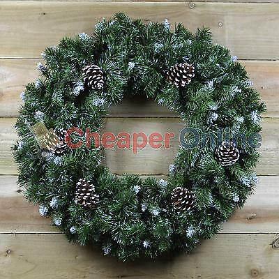60cm Snow King Fir Christmas Wreath with Pine Cones