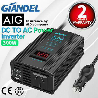 Larger Shell Power Inverter 1000W 2000W DC 12V to 240V AC Car Converter Camping