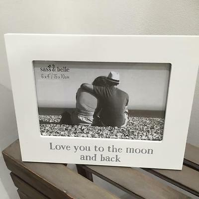 New WHITE PHOTO PICTURE FRAME with wording LOVE YOU TO THE MOON AND BACK