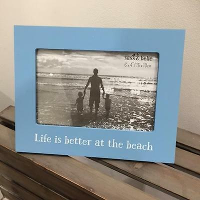 New GLOSSY BLUE PHOTO FRAME - LIFE IS BETTER AT THE BEACH- Nautical Seaside Home
