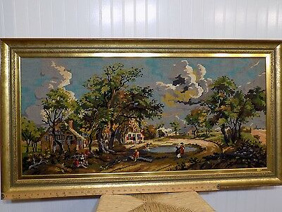 Amazing Large 48 x 25 Vintage Early Days Scene Needlepoint Art w Lots of Detail