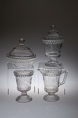 c. 1881 No. 140 WILDFLOWER by Adams & Co CRYSTAL 4 Piece Table Set