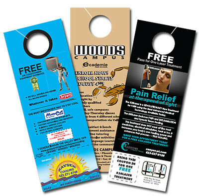 """2500 Full Color 2 Sided 4 1/4"""" x 11"""" Door Hangers 16pt Gloss Card Stock with UV"""