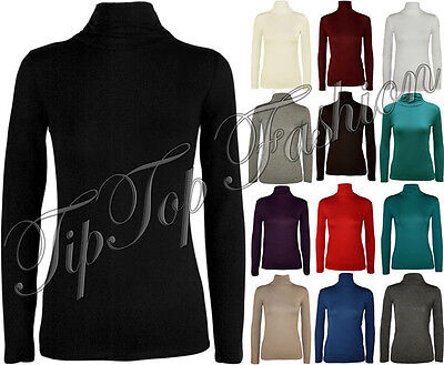 New Women Ladies Long Sleeve Plain Polo Turtle Roll Neck Stretch T-Shirt Top