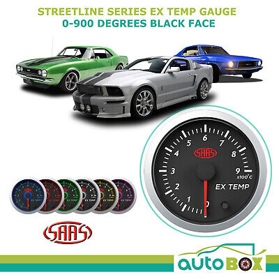 Street Series Black Face 0-900 EGT Exhaust Temperature Pyro Gauge Probe included
