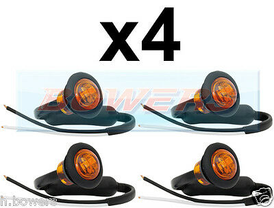 4x 12V/24V AMBER SMALL ROUND LED BUTTON SIDE MARKER LAMP/LIGHTS UNIVERSAL TRUCK