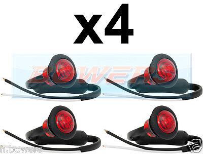 4x 12V/24V REAR RED SMALL ROUND LED BUTTON MARKER LAMP/LIGHTS UNIVERSAL TRUCK