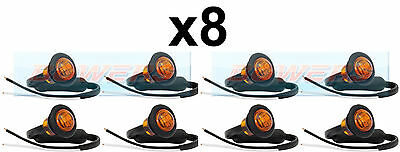 8x 12V/24V AMBER SMALL ROUND LED BUTTON SIDE MARKER LAMP/LIGHTS UNIVERSAL TRUCK