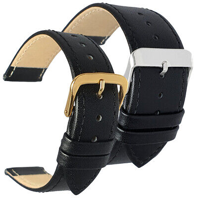 Black Leather Watch Strap Band Gilt Chrome Buckle Sizes 12-30mm