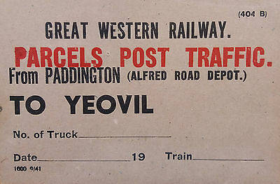 Great Britain 1941 Great Western Railway Parcels Post Traffic Card To Yeovil