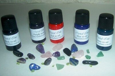Magick Crystal Pen Writing Ink 5 x 10mls Red Blue Purple Green Black