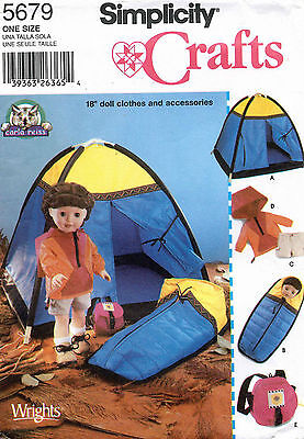 """Simplicity Doll Clothes and Accessories Pattern 5679 Size 18"""" UNCUT"""