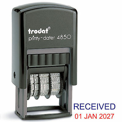 Trodat 4850 Dater Stamp Compact Wording Received in Blue Date in Red Ref 76313