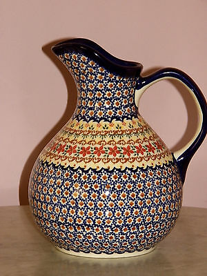 Genuine Hand Made Polish Pottery UNIKAT Zeus Pitcher! Daria Pattern! Signed!