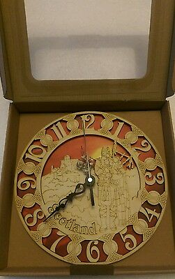 Handmade Wooden Clock - Scotland Piper Red - Wall mounted or free standing - NEW