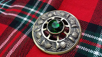 TC Kilt Fly Plaid Brooch Thistle Design Green Stone Antique/Highland Brooches 3""
