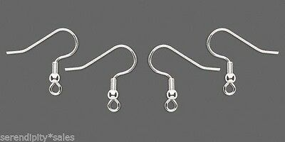 100 SILVER Plated STAINLESS Steel Ear Wires EarWires ~ Earrings with Coil + Bead