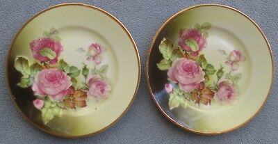 TWO Antique Porcelain Plates Pink Roses & Gold Trim