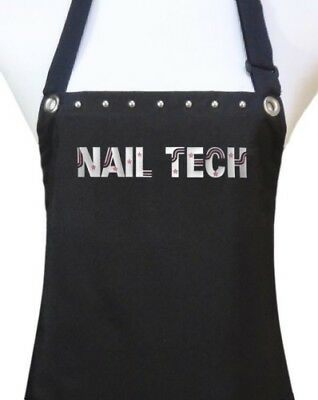 "Manicurist ""Nail Tech"" Apron manicure pedicure salon waterproof black silver"
