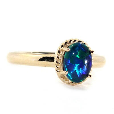 GENUINE NATURAL BLACK OPAL TRIPLETS 6x8mm SOLID REAL 9K YELLOW GOLD RING