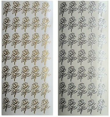 LITTLE ROSES Peel off Stickers Wedding Stationery Rose Flowers Silver or Gold