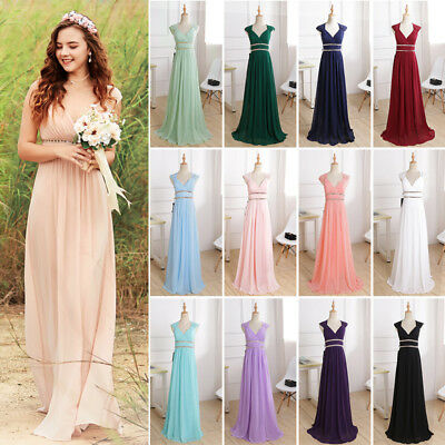Womens Bridesmaid Dress Long Chiffon V-neck Evening Dresses Formal Prom Gowns