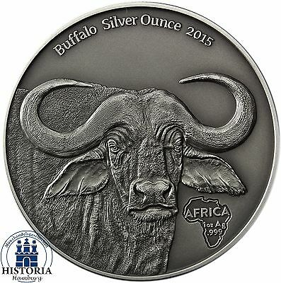 "Africa Series: Gabon 1000 Francs 2015 Antique Finish ""African Buffalo"" Silver Oz"