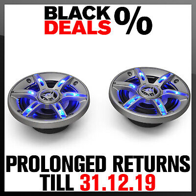 """Hifi 6.5"""" In Car Stereo Audio Speakers 800W 3-Way Coaxial Design Blue Led Effect"""