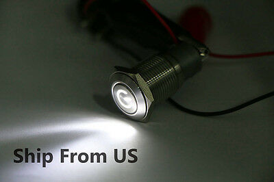 16mm Waterproof Power Push Button Latching Switch 12V White LED Head