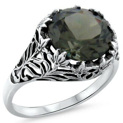 5 Ct. Green Sim Tourmaline Antique Style .925 Sterling Silver Filigree Ring,#531