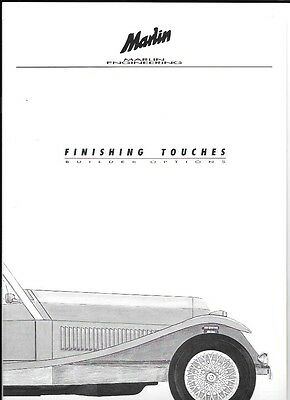 Marlin Engineering Kit Car And Options Sales Brochure Plus Prices 1991