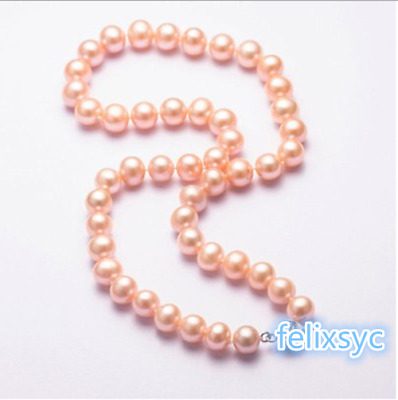 Oval Cream 6mm Faux Pearl necklace women Wedding VINTAGE Beads silver tone Gift