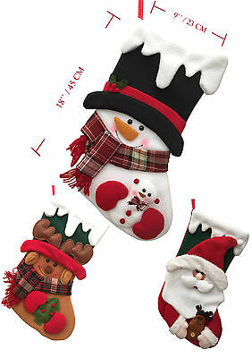 New Quality Xmas Stockings Santa Snowman Reindeer Father Christmas Gift  UK
