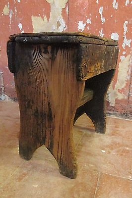 Antique Pine Stool Country Folk Furniture