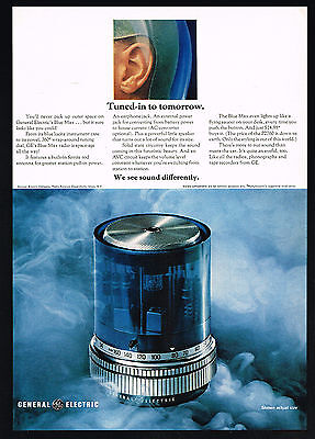 1969 General Electric Blue Max Round Radio Photo Model P2760 Vintage Print Ad