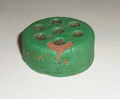 Bauer Pottery Matte Green Red Clay Flower Frog!
