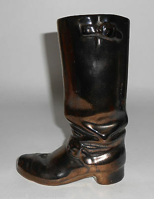 Rosemeade Pottery Black Metallic Cowboy Boot Vase!