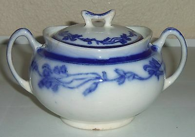 J & G Meakin China Flow Blue Ring Of Flowers W/Gold Sugar Bowl W/Lid!