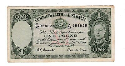 One Pound Paper Banknote Commonwealth of Australia Coombs Wilson T-986