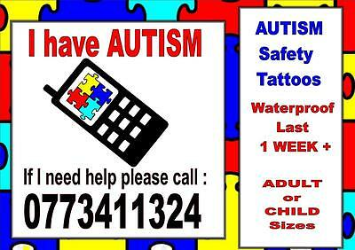 AUTISM SAFETY temporary tattoos lost CHILD ADULT contact  WATERPROOF LAST1WEEK+